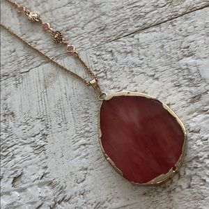 Jewelry - NWOT Ruby Agate Stone on Faux Gold Chain
